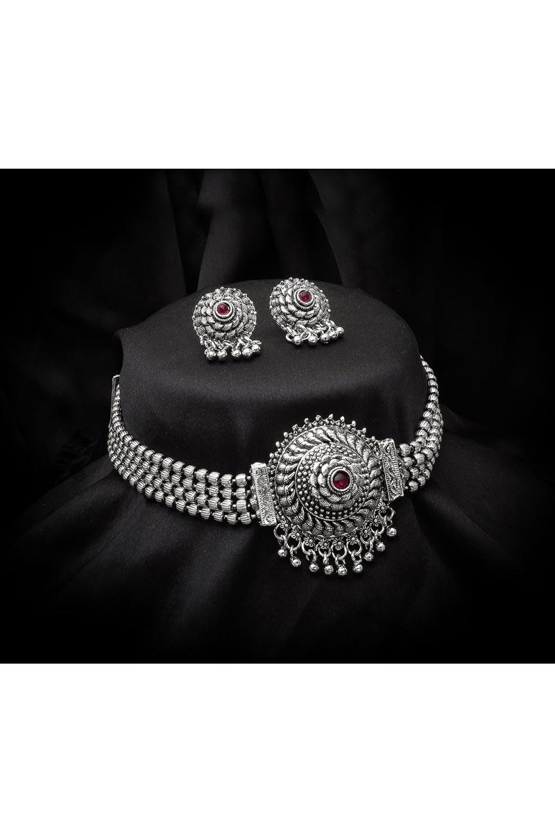Trendy Silver Color Festive Wear Oxidized Metal Necklace Set