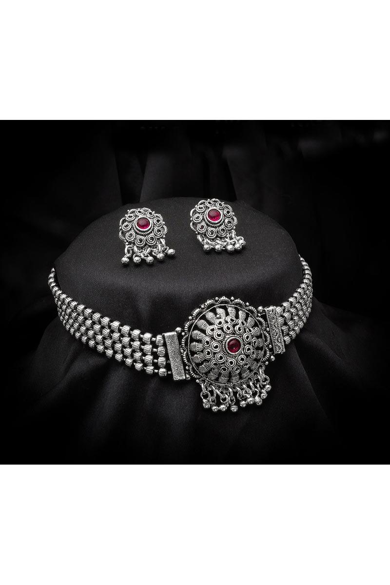 Trendy Festive Wear Silver Color Oxidized Metal Necklace Set