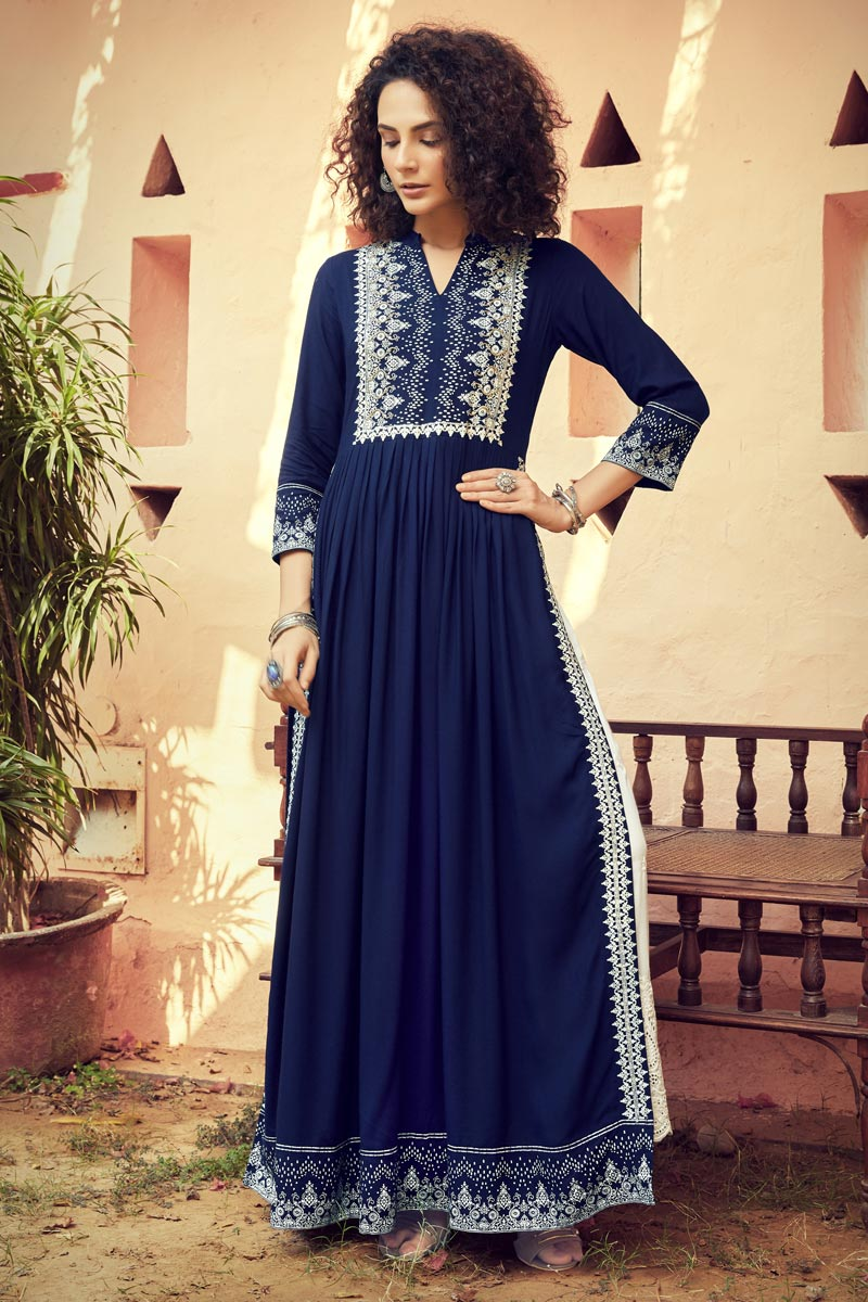 Navy Blue Color Rayon Fabric Party Wear Printed Long Kurti With Bottom