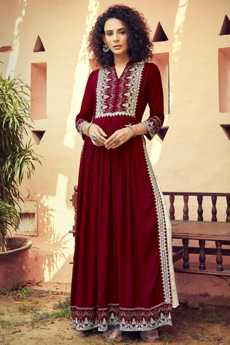 Maroon Color Party Wear Rayon Fabric Printed Long Kurti With Bottom