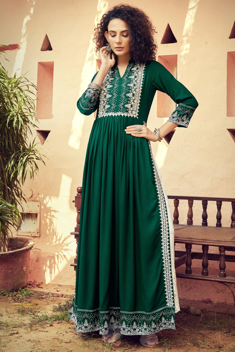 Rayon Fabric Party Wear Dark Green Color Printed Long Kurti With Bottom