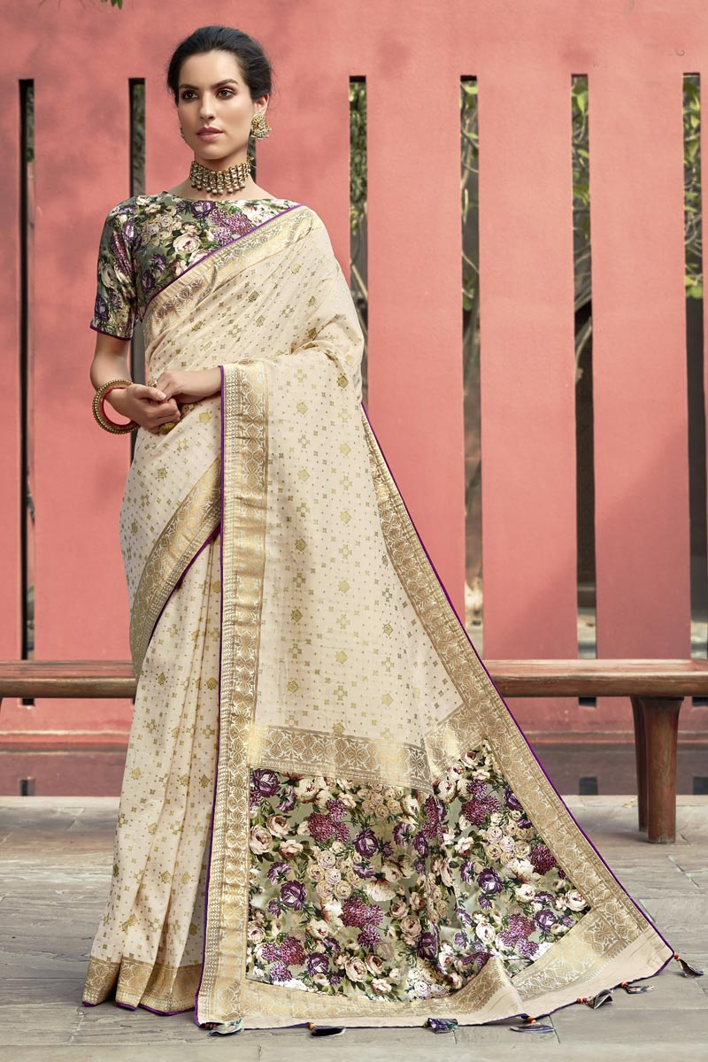 Art Silk Fabric Puja Wear Beige Color Trendy Digital Printed Saree