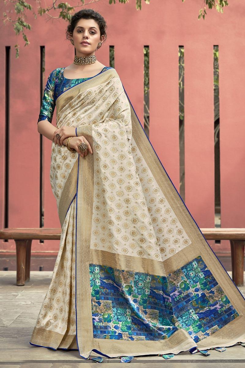 Art Silk Fabric Trendy Beige Color Puja Wear Digital Printed Saree