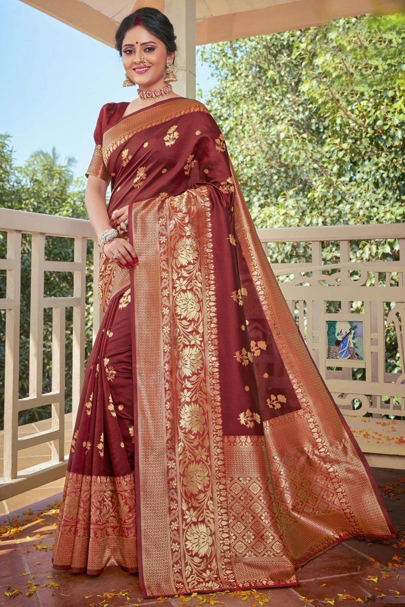 Brown Color Designer Weaving Work Saree In Art Silk Fabric