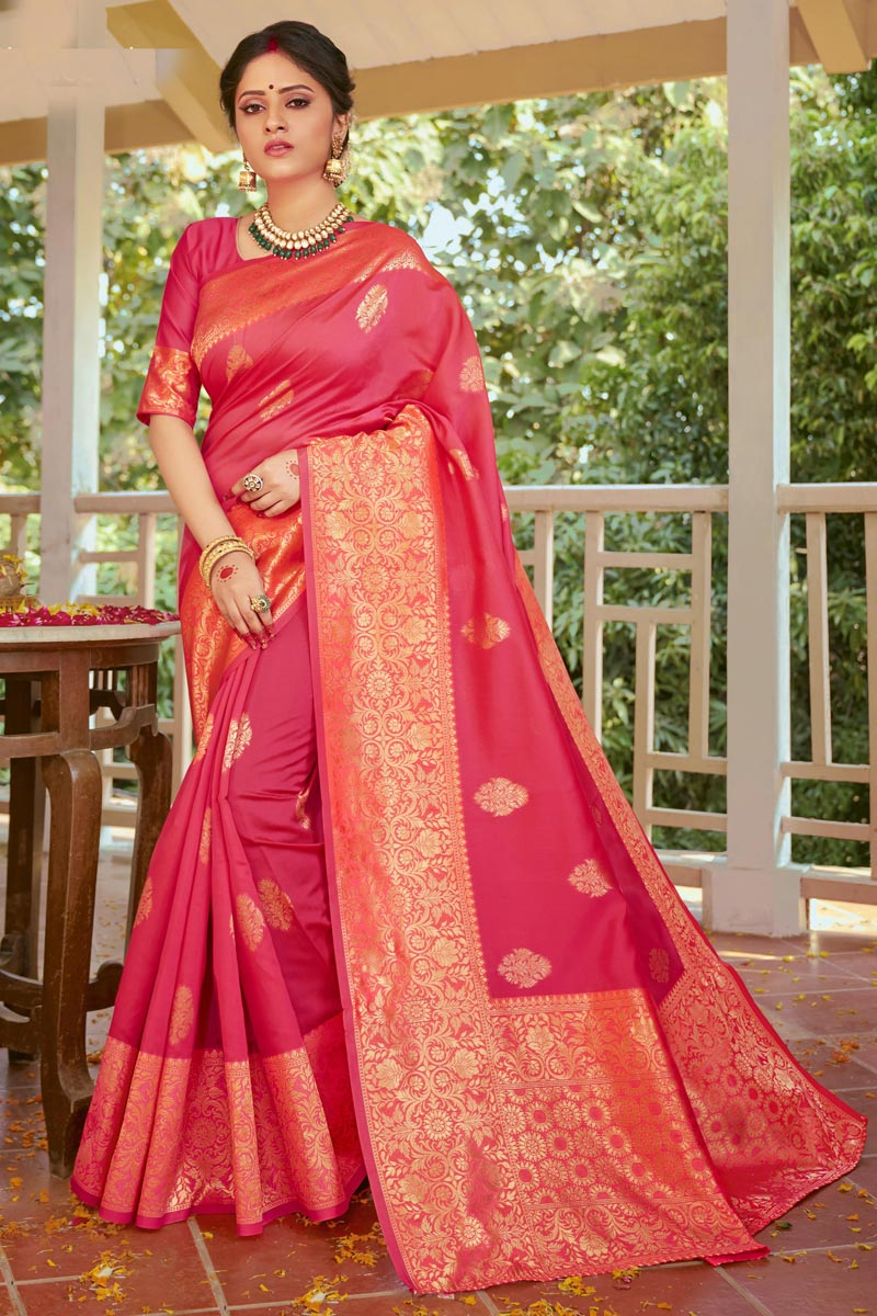 Pink Color Art Silk Fabric Festive Wear Weaving Work Saree