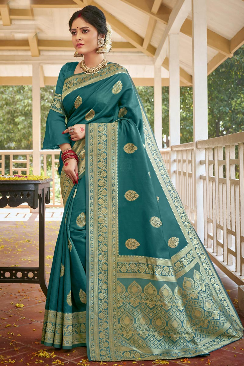 Teal Color Traditional Weaving Work Saree In Art Silk Fabric