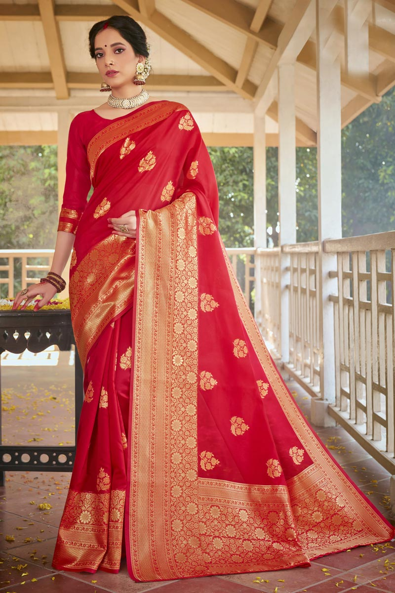 Art Silk Fabric Red Color Designer Weaving Work Saree