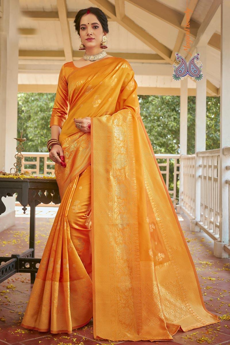 Art Silk Fabric Designer Weaving Work Saree In Yellow Color