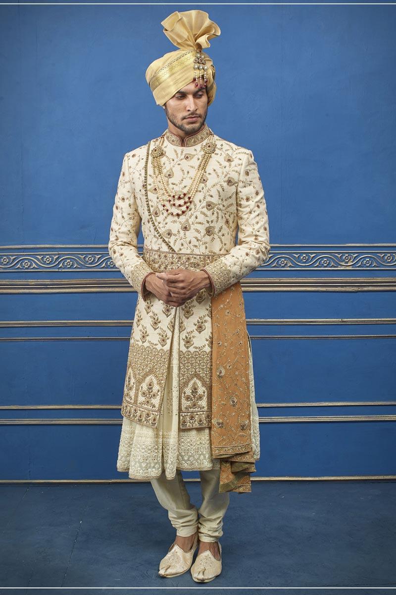 Beige Color Silk Fabric Wedding Wear Designer Indo Western Groom Sherwani
