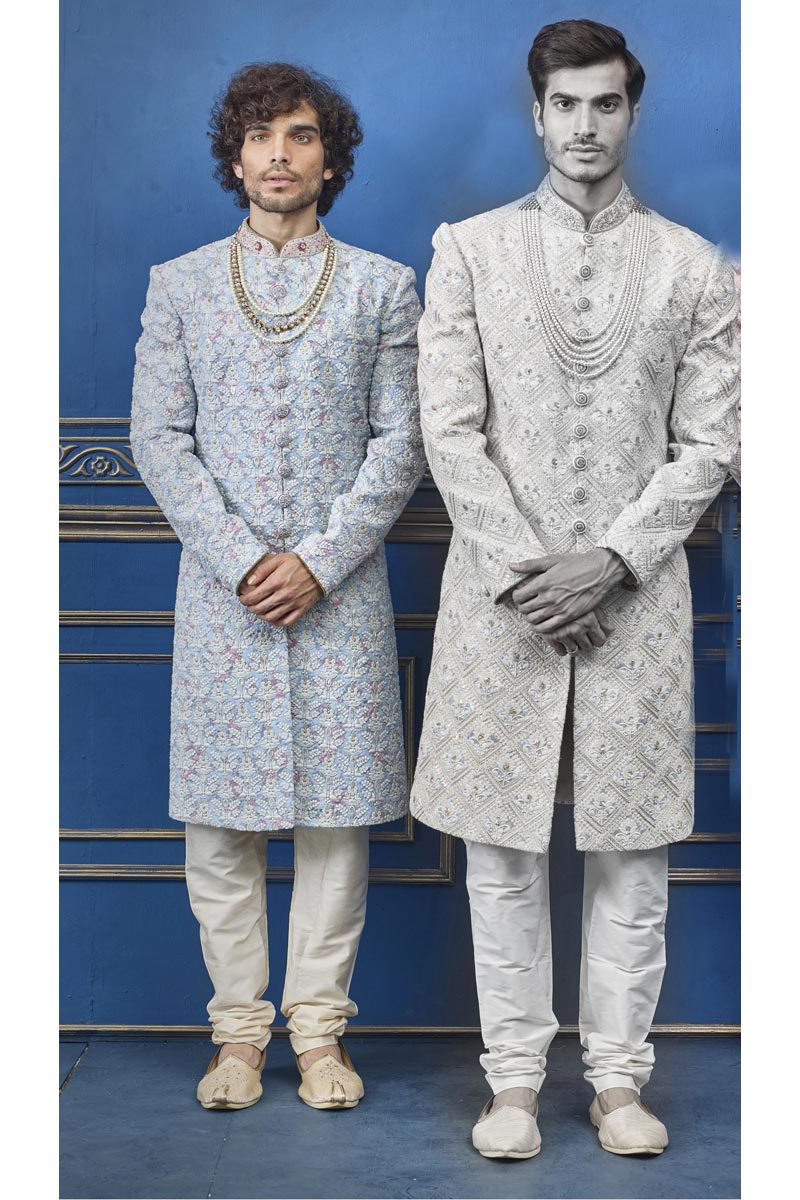Mens Wedding Wear Silk Fabric Off White Color Designer Indo Western Groom Sherwani