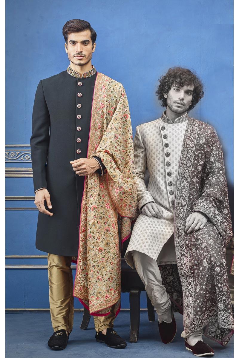 Black Color Fancy Fabric Wedding Wear Designer Indo Western Groom Sherwani