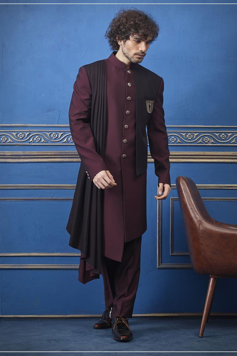 Fancy Fabric Wedding Wear Indo Western In Maroon Color