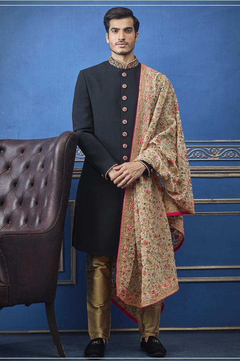 Wedding Wear Indo Western Groom Sherwani In Black Color For Men