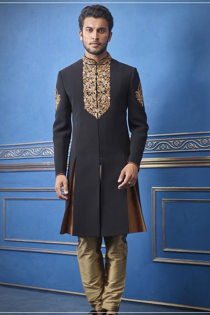Wedding Wear Indo Western In Black Color For Men