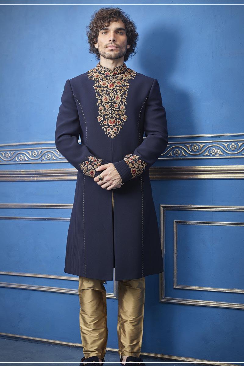 Navy Blue Color Designer Indo Western