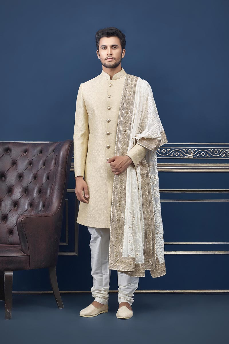 Mens Wedding Wear Beige Color Indo Western Groom Sherwani