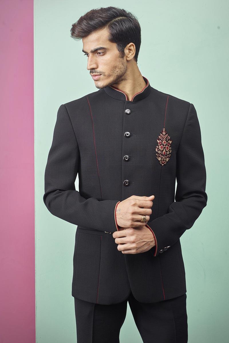 Function Wear Fancy Fabric Jodhpuri Suit In Black Color For Men