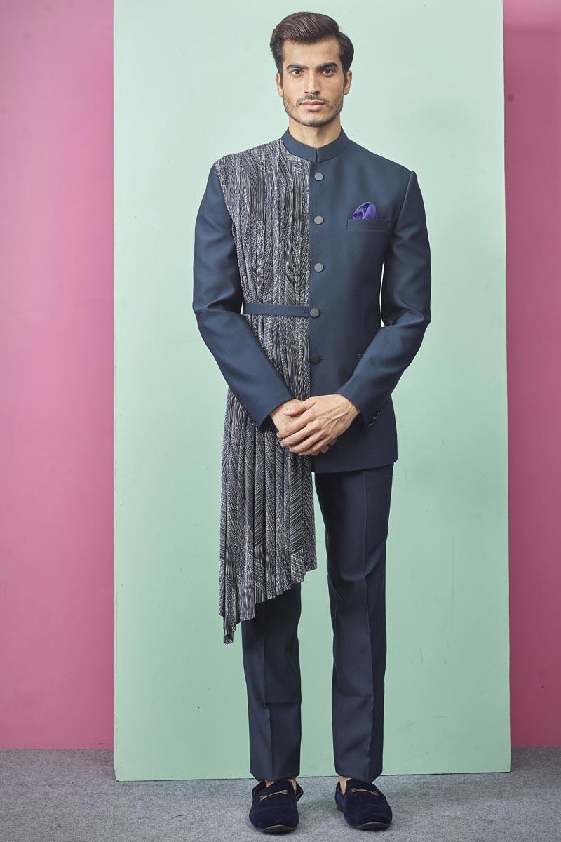 Mens Function Wear Fancy Fabric Teal Color Jodhpuri Indo Western