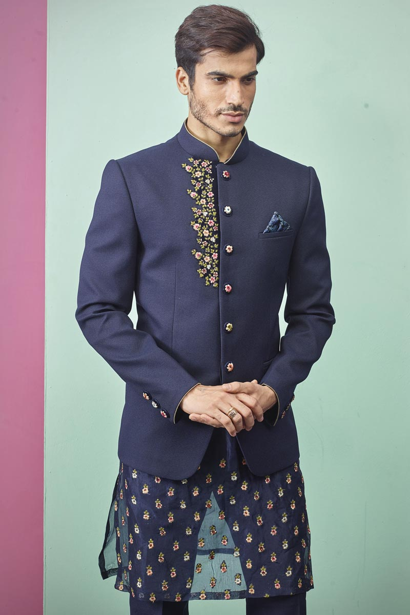 Navy Blue Color Fancy Fabric Designer Jodhpuri Indo Western