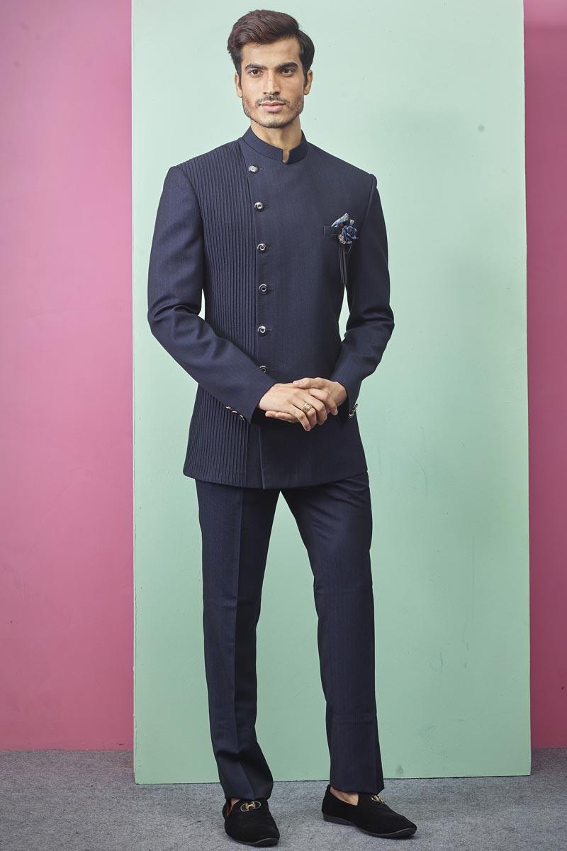 Mens Function Wear Fancy Fabric Navy Blue Color Jodhpuri Suit