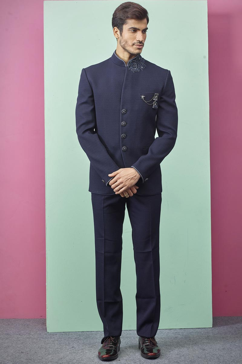 Function Wear Fancy Fabric Jodhpuri Suit In Navy Blue Color