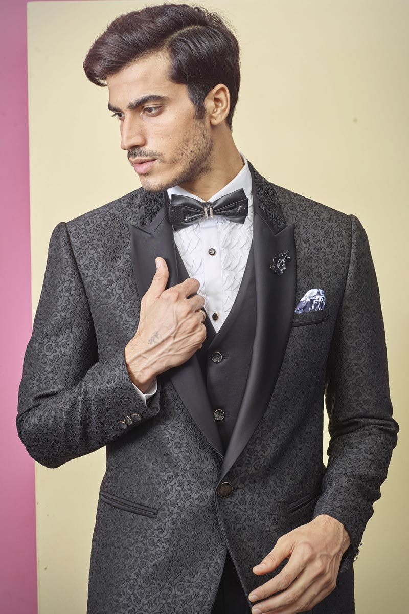 Sangeet Wear Fancy Fabric Readymade Designer Suit In Black Color For Men