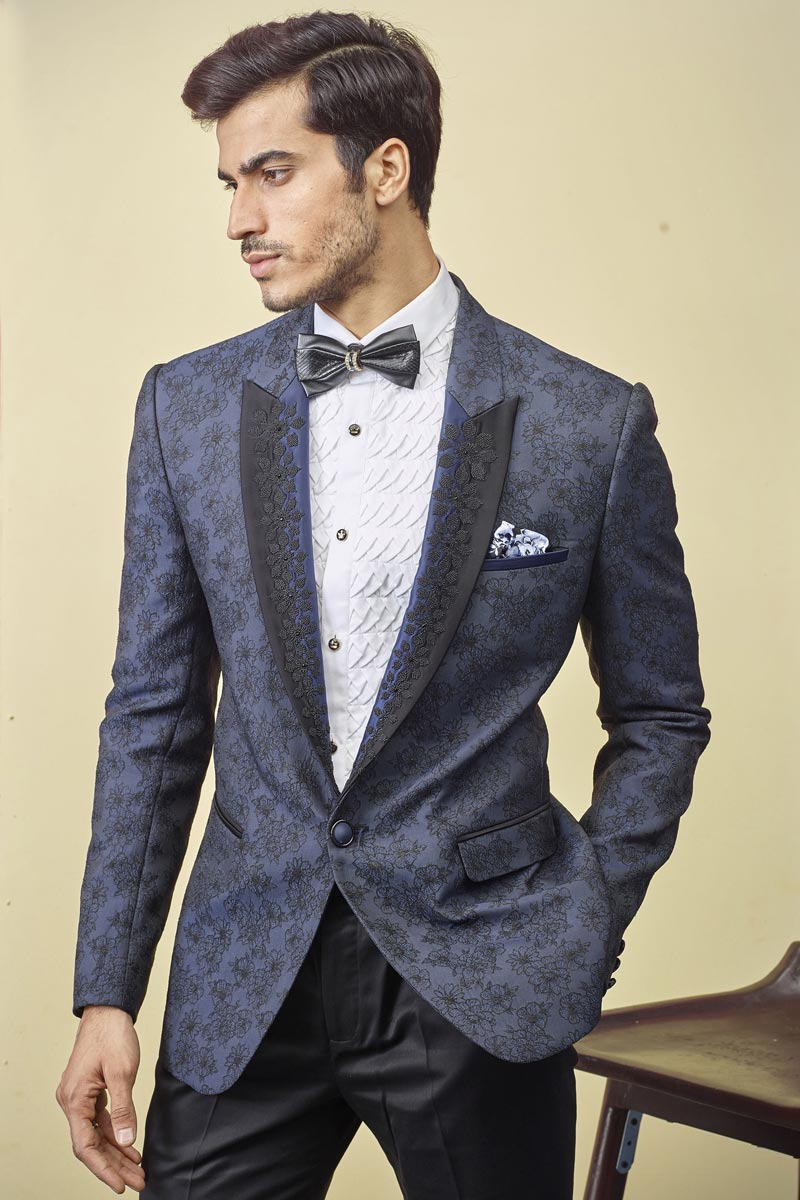 Fancy Fabric Navy Blue Color Function Wear Readymade Designer Suit