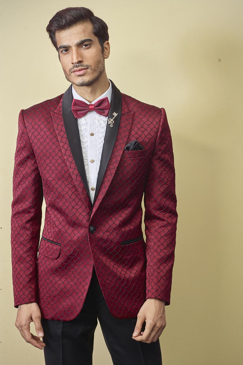 Mens Function Wear Fancy Fabric Red Color Readymade Designer Suit