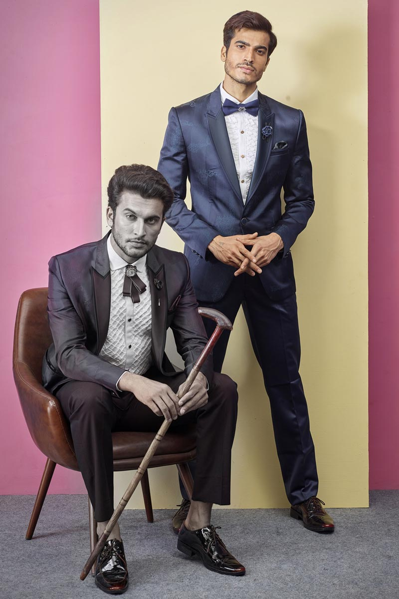 Mens Function Wear Fancy Fabric Navy Blue Color Readymade Designer Suit