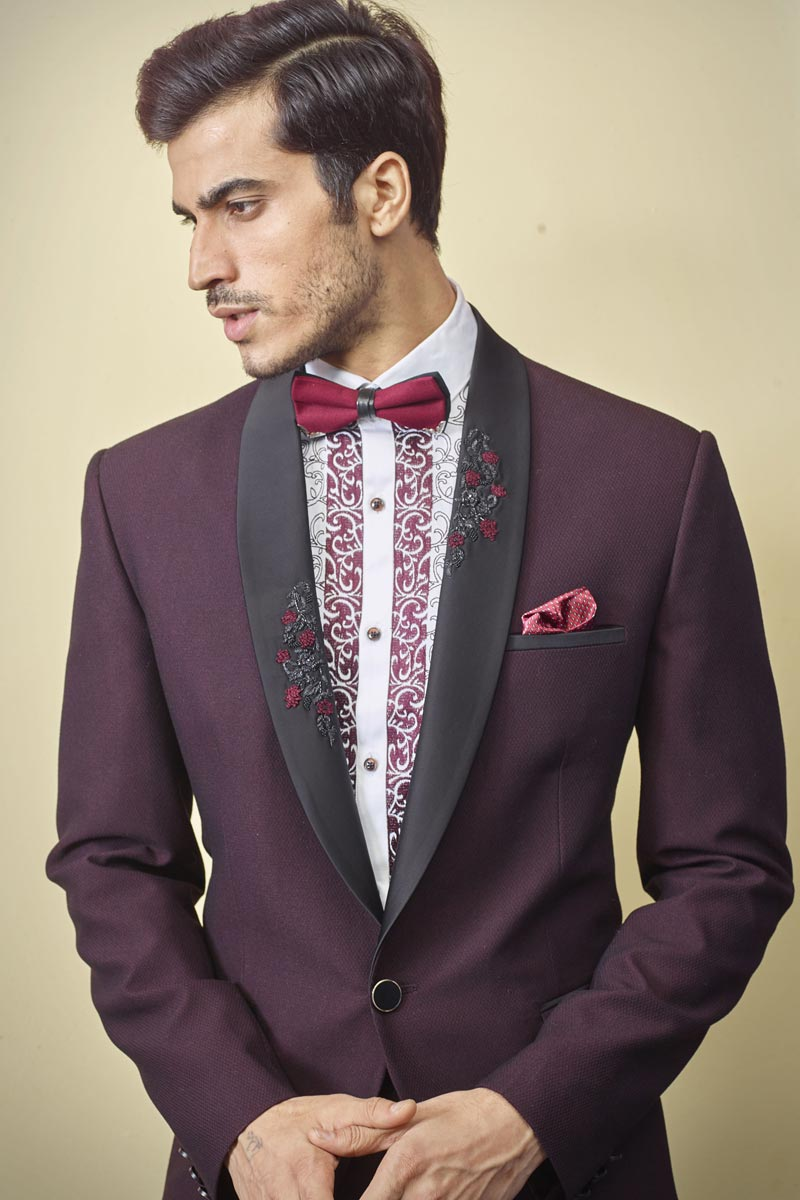 Wine Color Fancy Fabric Function Wear Readymade Designer Suit