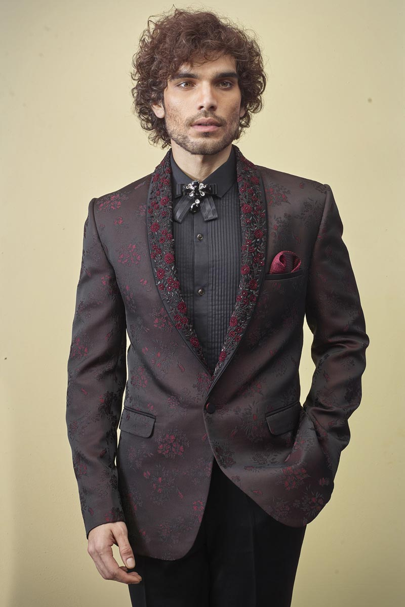 Fancy Fabric Brown Color Function Wear Readymade Designer Suit
