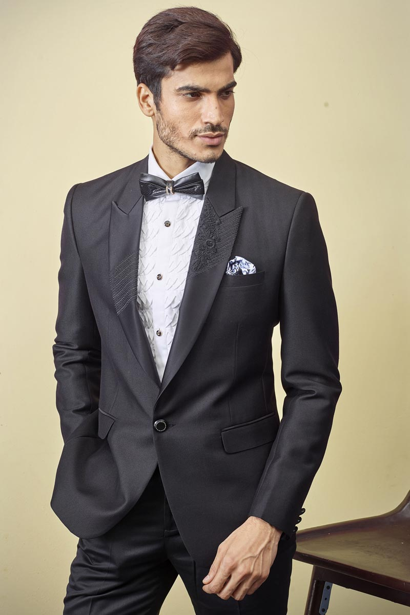 Mens Function Wear Fancy Fabric Black Color Readymade Designer Suit
