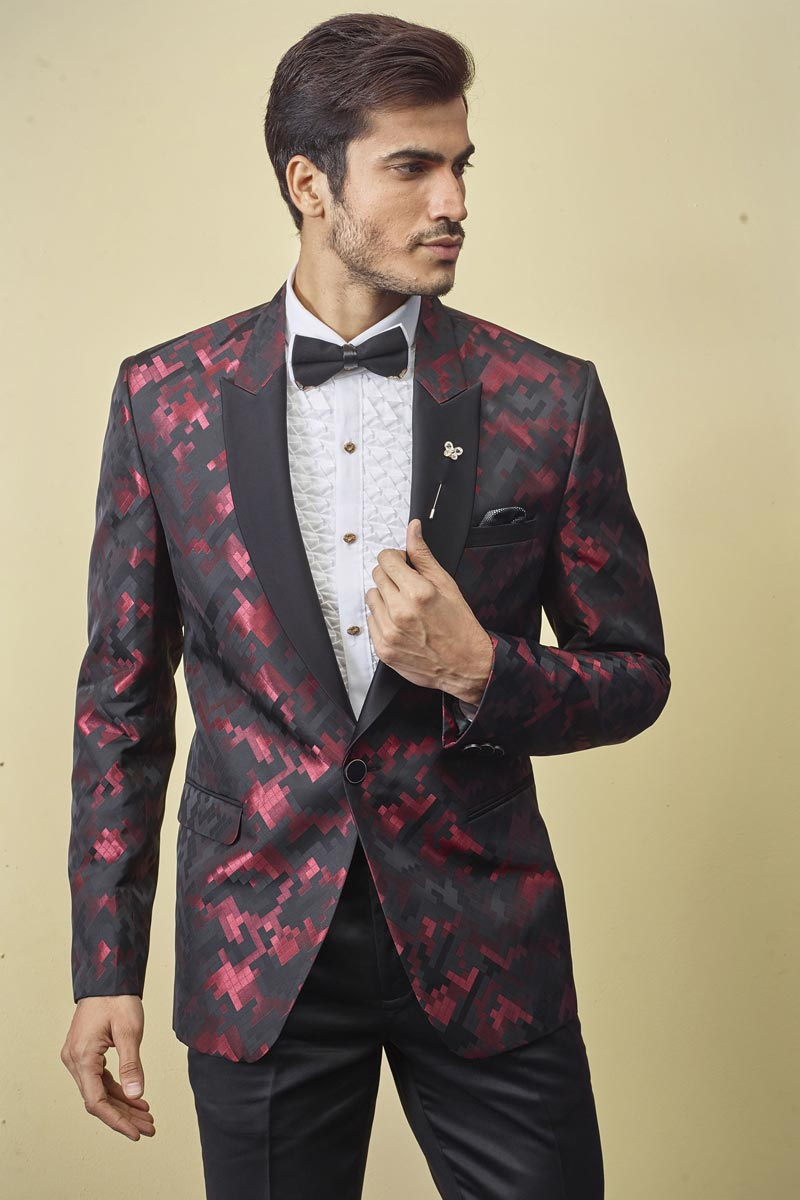 Mens Function Wear Fancy Fabric Black Color Readymade Suit