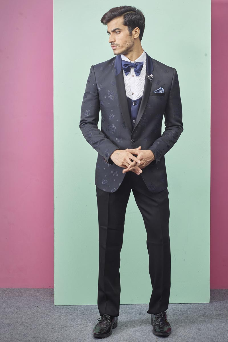 Navy Blue Color Fancy Fabric Function Wear Readymade Designer Suit