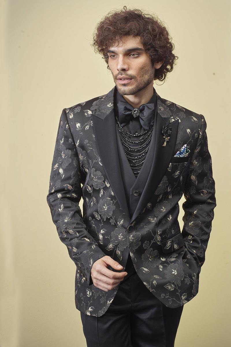 Fancy Fabric Festive Wear Readymade Designer Suit In Black Color