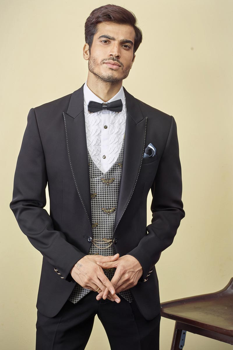 Sangeet Wear Readymade Designer Suit In Black Color For Men
