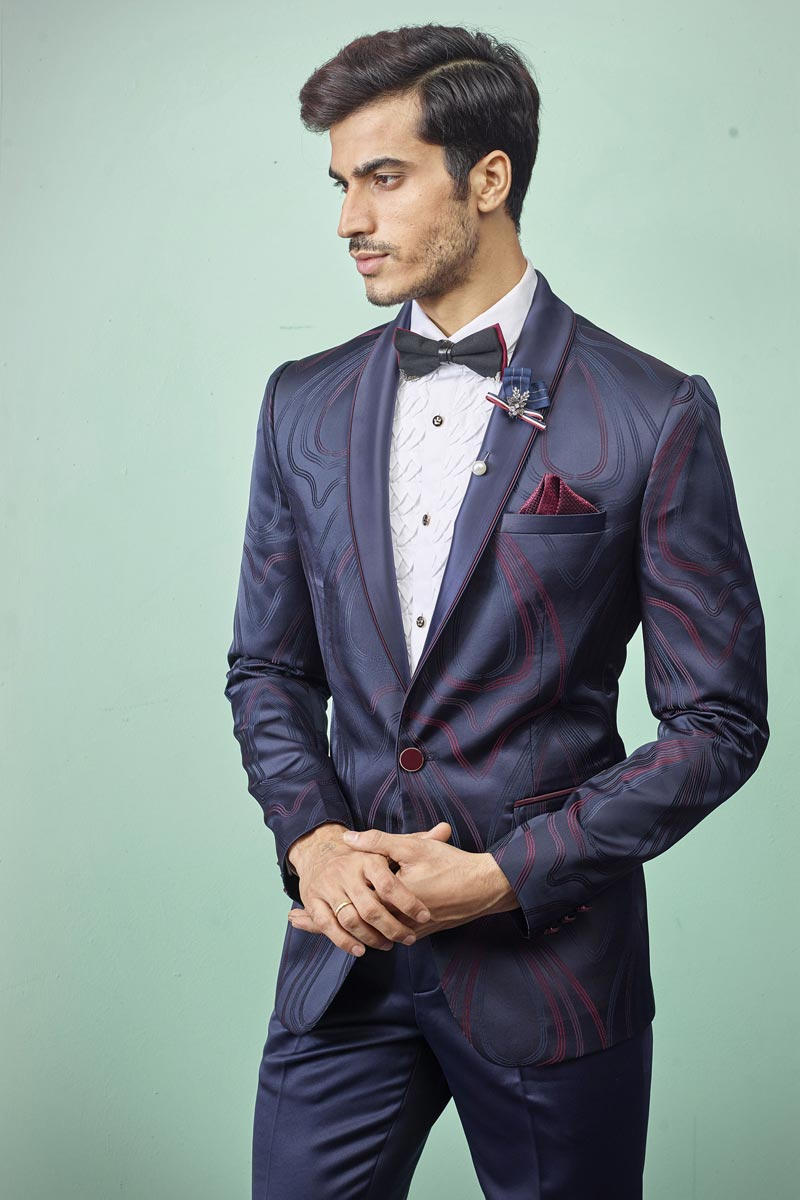 Sangeet Wear Readymade Designer Suit In Navy Blue Color For Men