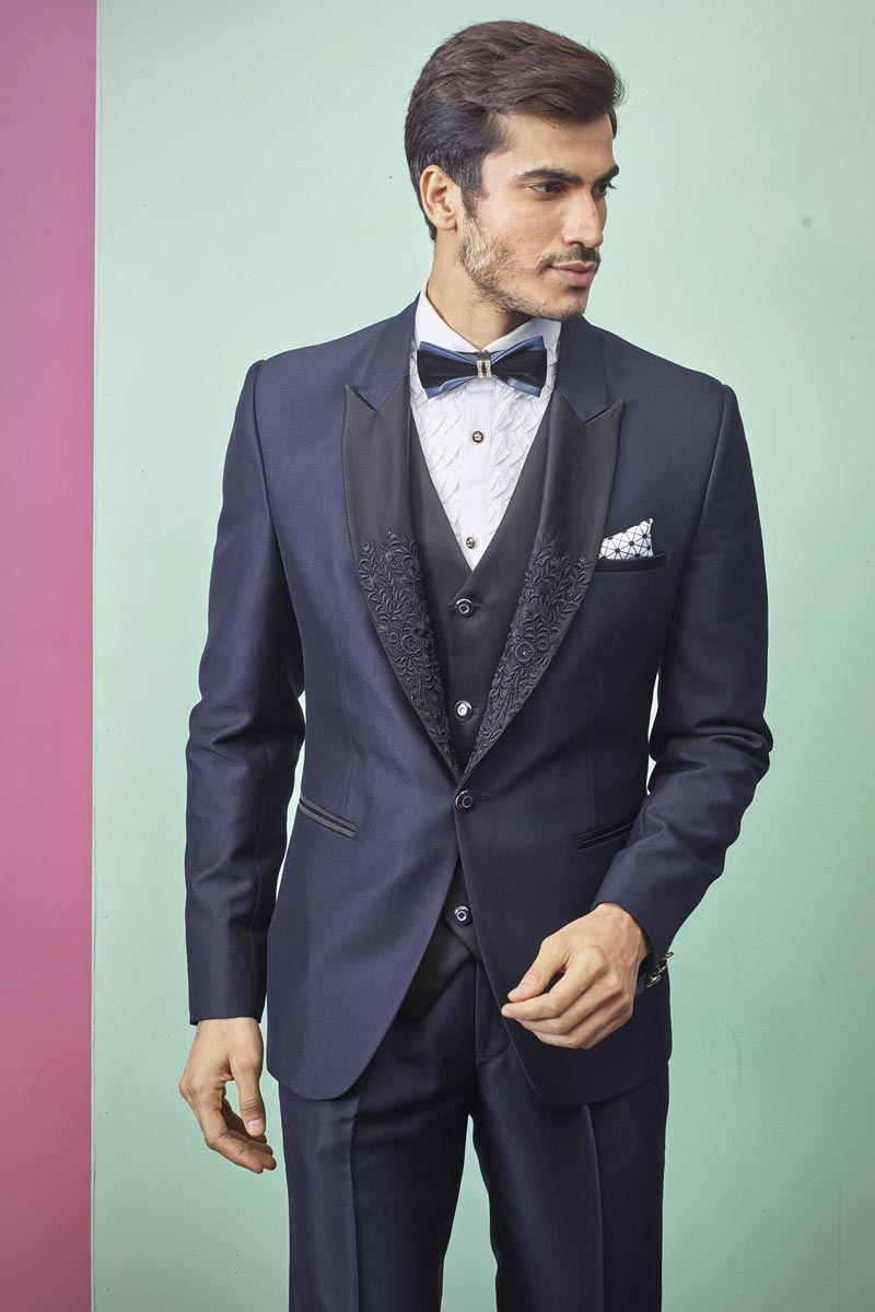 Navy Blue Color Function Wear Readymade Designer Suit