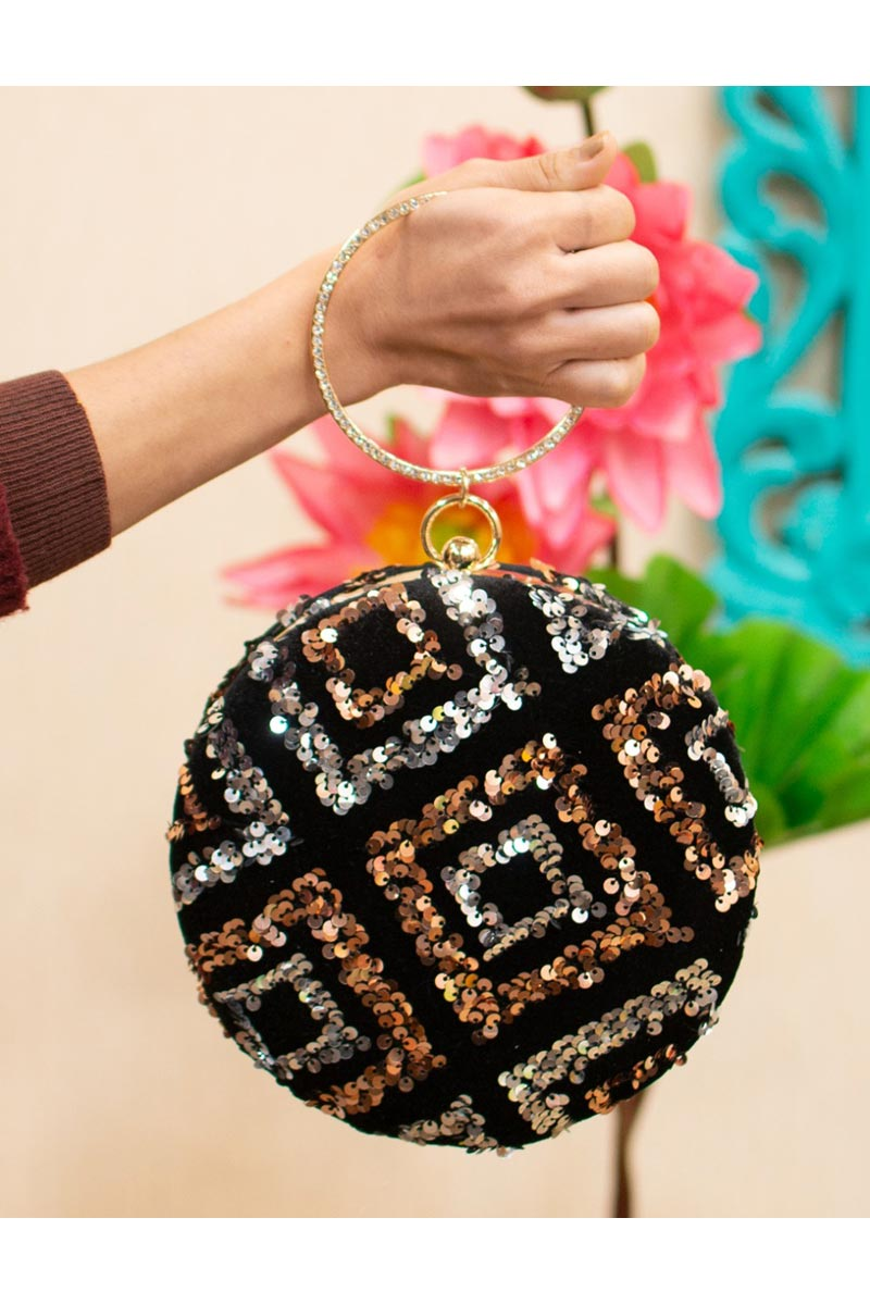 Trendy Party Style Black Color Round Shape Clutch Bag For Women