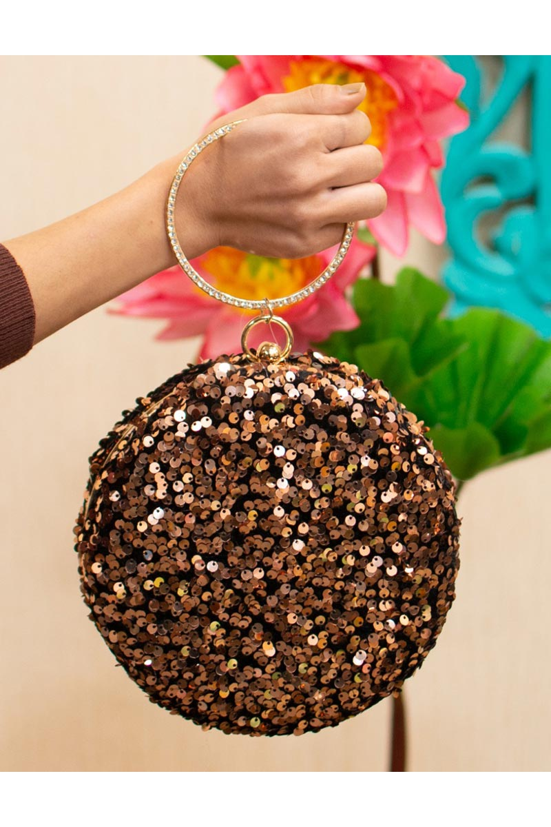 Womens Trendy Party Style Round Shape Clutch Bag In Brown Color