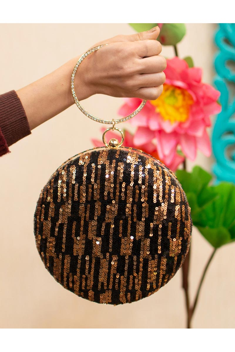Trendy Party Style Brown Color Round Shape Clutch Bag For Women