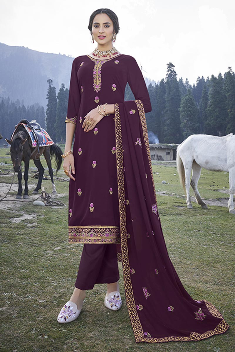 Wine Color Embroidered Readymade Salwar Kameez In Georgette Fabric