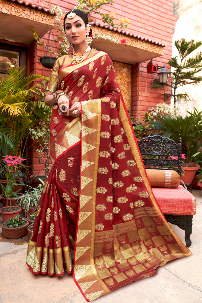 Cotton Fabric Sangeet Wear Maroon Color Weaving Work Saree