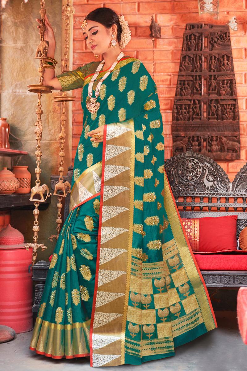 Sangeet Wear Teal Color Weaving Work Saree