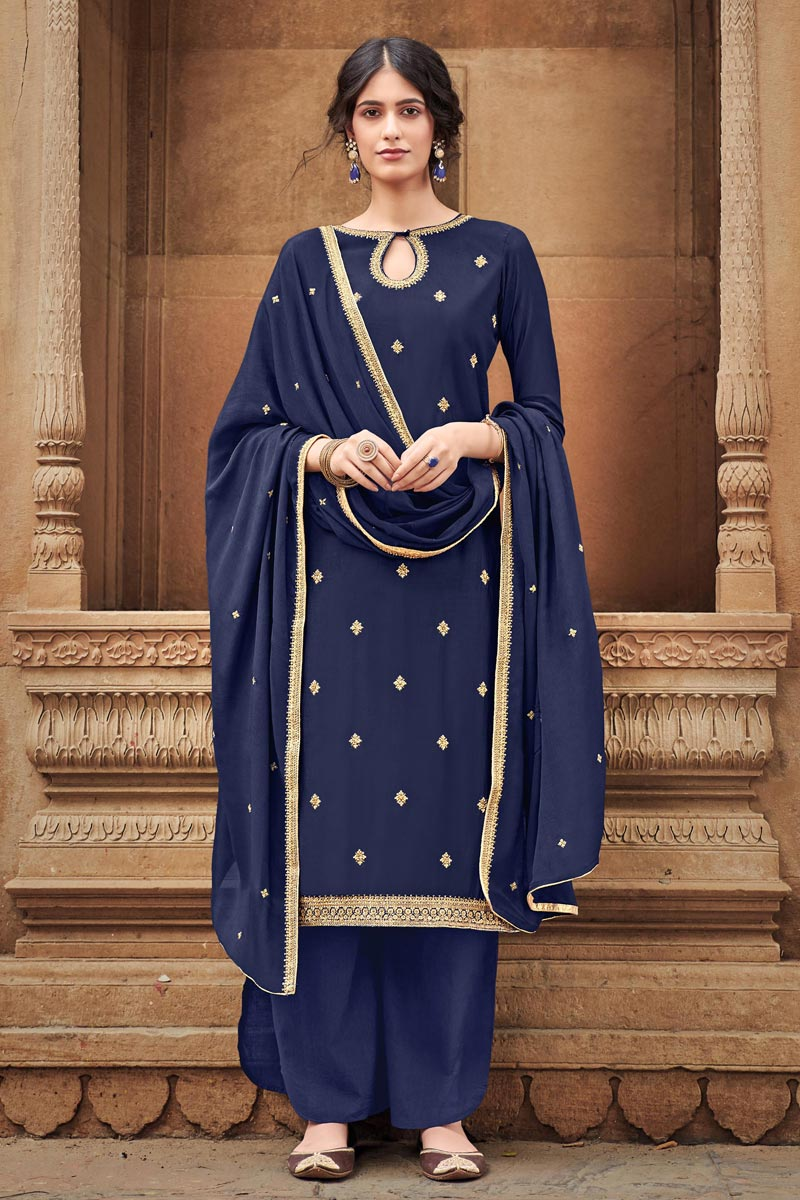Cotton Silk Fabric Party Wear Palazzo Salwar Suit In Navy Blue Color With Embroidery Work
