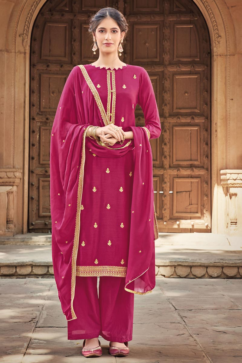 Rani Color Cotton Silk Fabric Function Wear Embroidered Palazzo Suit