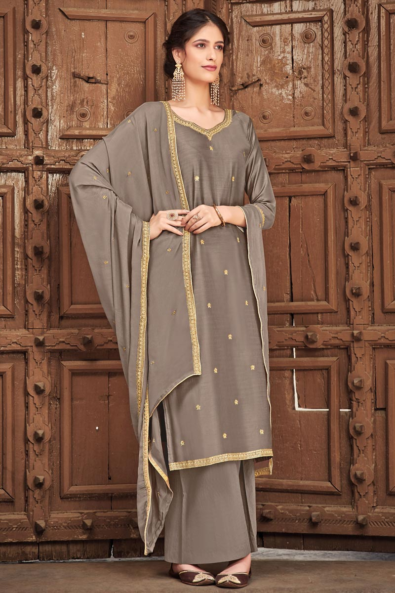Occasion Wear Grey Color Embroidered Palazzo Salwar Kameez In Cotton Silk Fabric