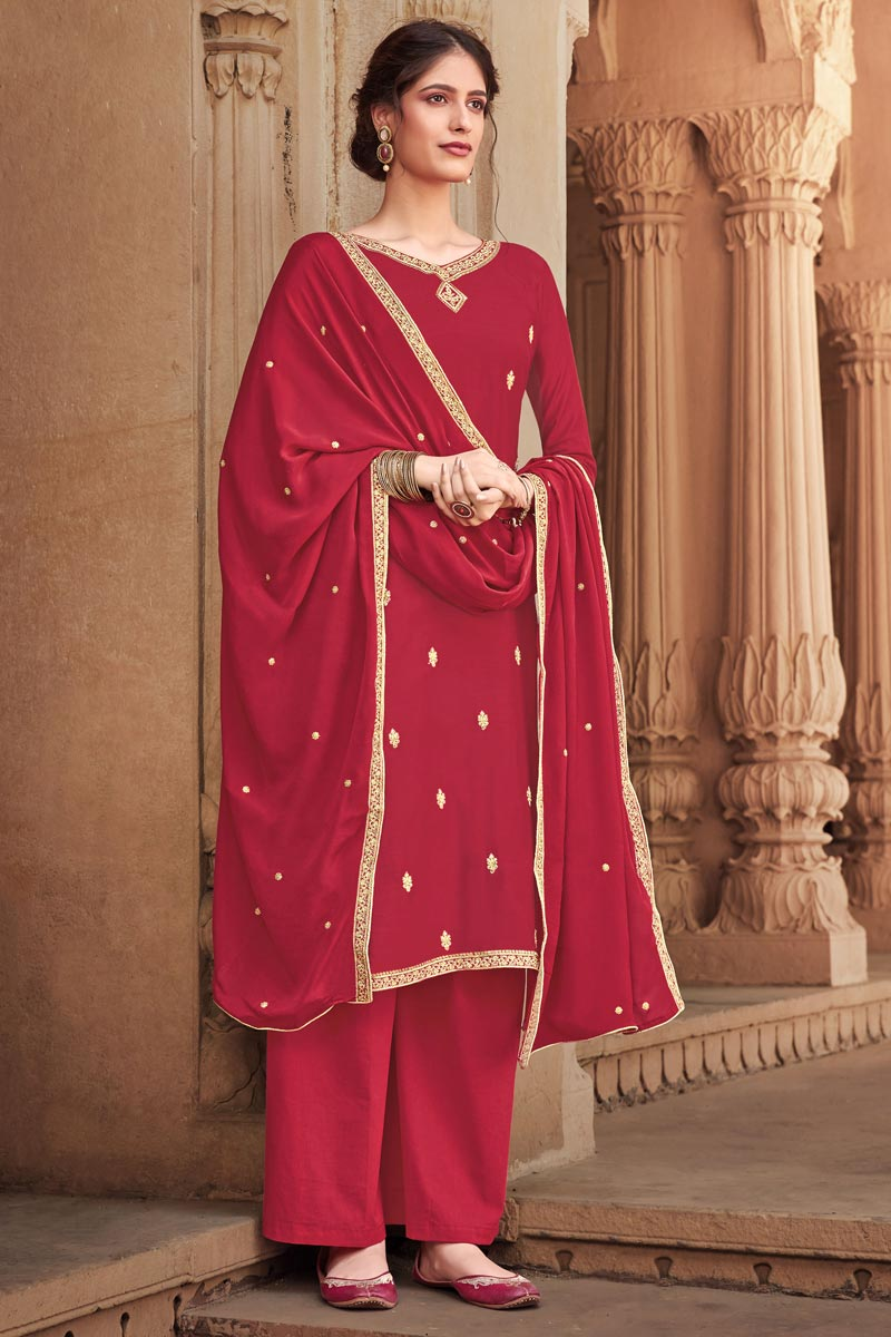 Embroidery Work Red Color Cotton Silk Fabric Palazzo Salwar Suit