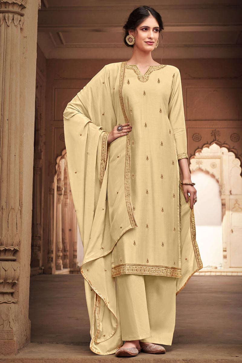 Cotton Silk Fabric Cream Color Palazzo Suit With Embroidery Work