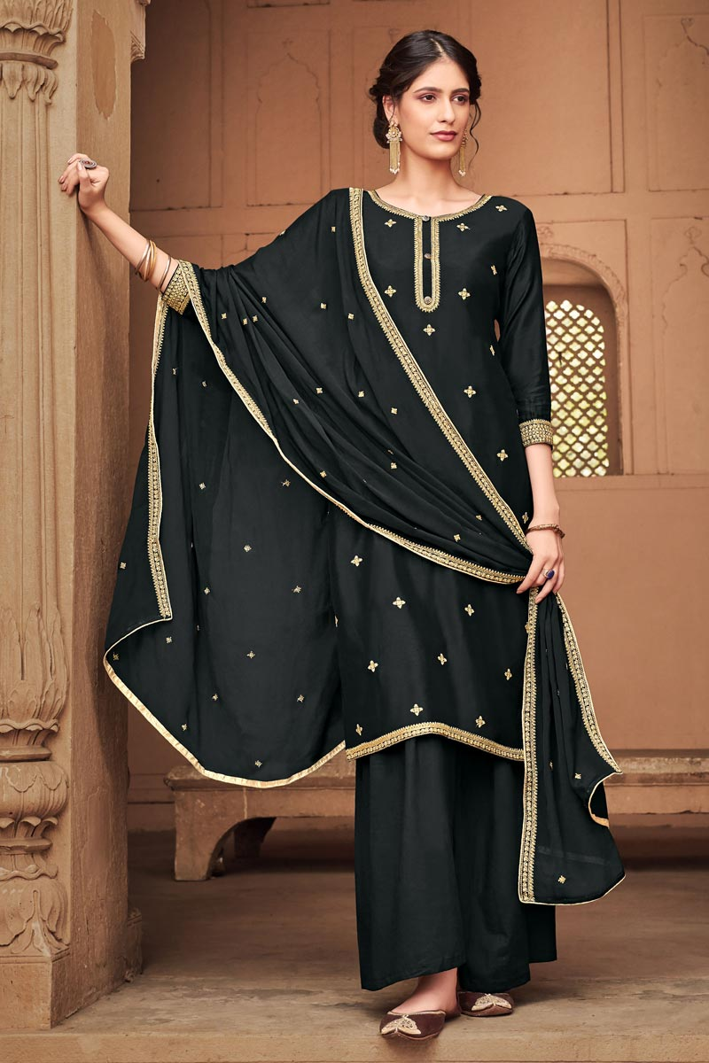 Black Color Embroidered Cotton Silk Fabric Party Wear Palazzo Salwar Kameez